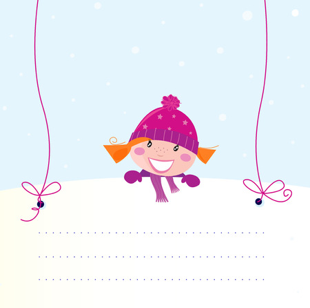 Christmas red hair girl holding a blank white banner for your message Vector