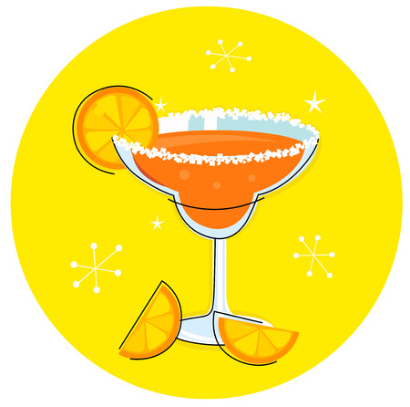 mexico beach: Orange Margarita: Retro cocktail icon isolated on yellow background