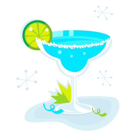 tequila: Retro Margarita drink isolated on white background. Lime and mint leaf - retro party begin! Illustration.