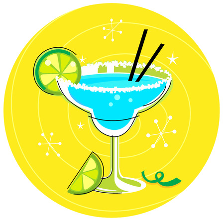 frozen glass: Blue Margarita: Retro cocktail icon on yellow background Illustration