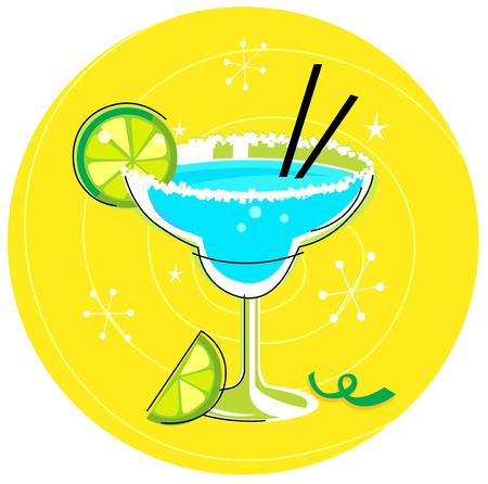 tropical drink: Margarita azul: Icono c�ctel retro sobre fondo amarillo