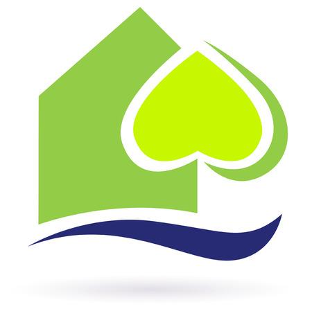 Grün Natur Öko-Haus-Symbol. Grüne Öko-Haus-Symbol. Abbildung. Standard-Bild - 8098071