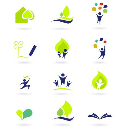 iconos educacion: Iconos de la naturaleza, la escuela y la educaci�n. ilustraciones abstracci�n iconos: conjunto de la naturaleza, la gente y la educaci�n.