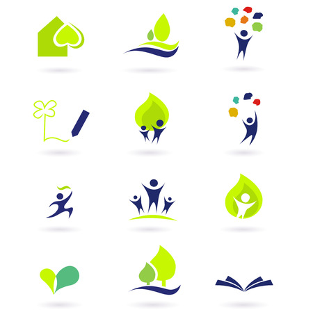 learning tree: Nature, school and education icons. illustrations abstract icons: nature, people and education set. Illustration