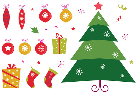 Retro christmas icons and elements set Stock Vector - 8098084