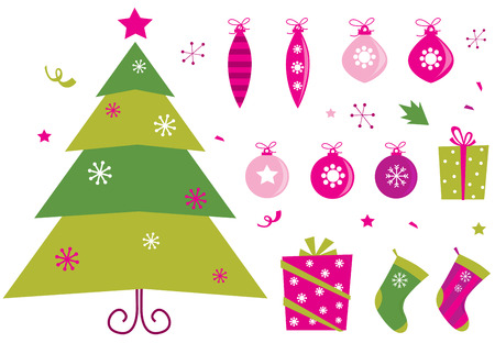 Pink and green retro christmas icons and elements Illustration