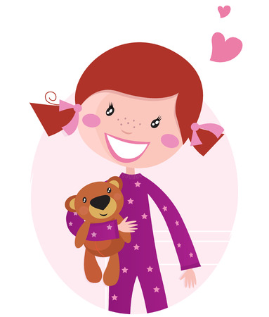 teddy bear cartoon: Happy little girl hugging teddy bear. Cute little girl with her new toy - Teddy Bear. cartoon illustration.