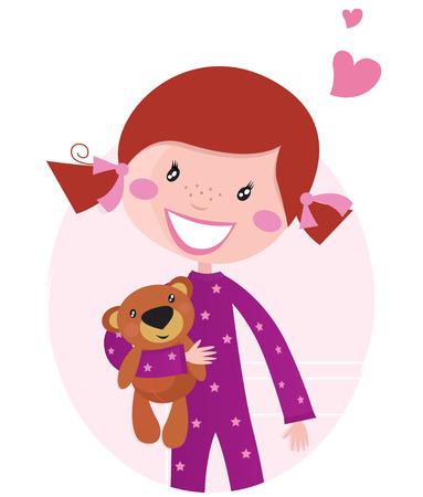 Happy little girl hugging teddy bear. Cute little girl with her new toy - Teddy Bear. cartoon illustration.