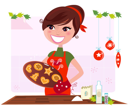 Secret recipe: Woman preparing christmas cookies Stock Vector - 8098087