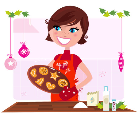 christmas cooking: Cooking mother preparing christmas cookies in kitchen. Funny cooking illustration of mother preparing christmas cookies. Stylized retro illustration.