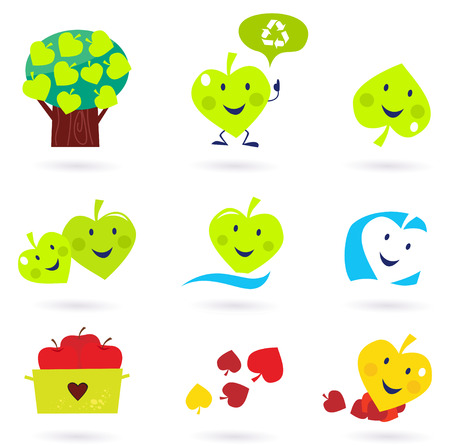 Green & red nature and recycle and environment icons  Vector