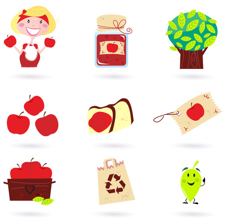 Nature and autumn: apple icons set ( green & red ) Stock Vector - 8098088
