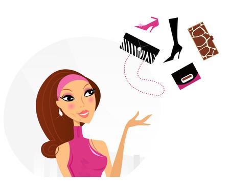 comprando zapatos: Compras mujer haciendo la decisi�n de qu� comprar. Ilustraci�n vectorial.