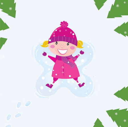 Happy blond girl making angel in snow. Trees are around little child. Vector Illustration. Stock Vector - 8168964