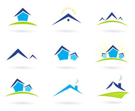 logo batiment: Immobilier  maisons des ic�nes de logo isol�s sur fond blanc - bleu et vert. Illustration du vecteur.