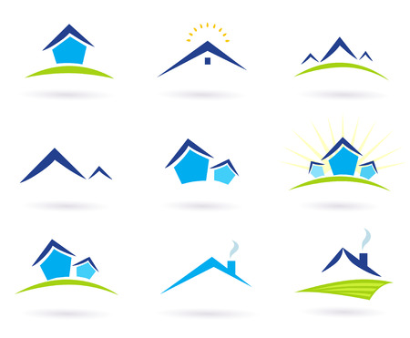 real estate background: Real estate  houses logo icons isolated on white - blue and green. Vector Illustration. Illustration
