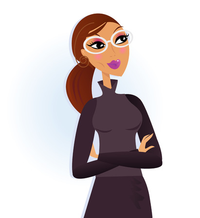 nerd girl: Businesswoman folding arms and smiling. Vector Illustration.