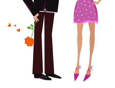 남자와 여자 복고 스타일 날짜. 남자 여자주는 선물 - 빨간 장미입니다. 벡터 일러스트 레이 션.