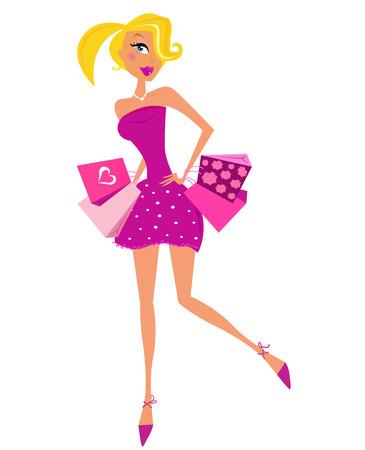 chicas compras: Mujer con bolsas de compra aislados sobre fondo blanco. Ilustración vectorial en estilo retro.