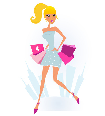 shopaholics: Woman Shopping in the City with Town silhouette in background. Vector Illustration.