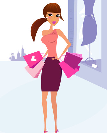 body bag: Woman Shopping in the City with boutique display in background. Vector Illustration.
