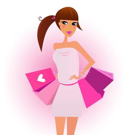 adolescente: Comprador - chica de compras con rosas bolsas de compra, aislados en blanco. Ilustración vectorial.  Vectores