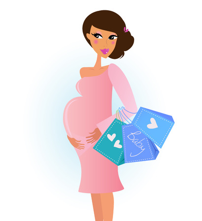 A fashionable pregnant woman in pink with shopping bags. Vector Illustration.