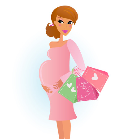 gift of hope: Mother shopping - pregnant woman with shopping bags isolated on white. Vector Illustration.