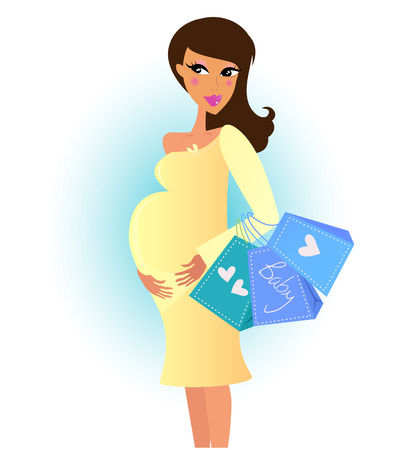 Beautiful pregnant woman on shopping for her new baby. Vector Illustration. Vector