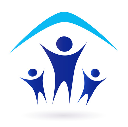 Family and house roof icon isolated on white - blue Family under one roof pictogram.  Vector