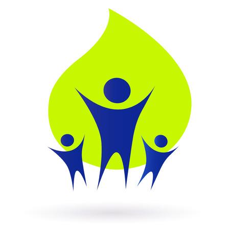 Icona di persone e la natura, adulti e bambini - verdi e blu. Illustrazione vettoriale.