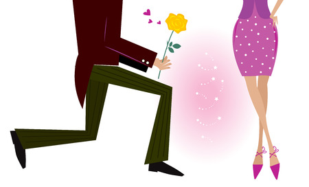 Valentine couple: man on knee is giving woman rose. Man is giving woman gift - yellow rose. Vector Illustration in retro style.