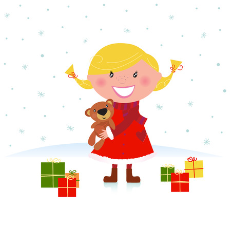 Happy winter blond child with teddy bear and christmas gifts. Vector Illustration. Stock Vector - 8276389