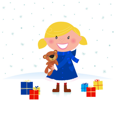 Happy winter blond child and christmas gift. Vector Illustration. Vector