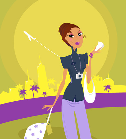 depart: Stylish woman on her travels at airport. Vector Illustration in retro style