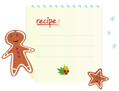 Christmas banner  recipe with blank space, ginger bread and cookie Vector