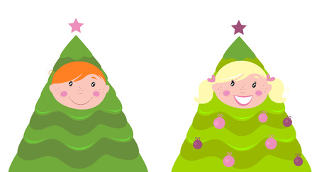 Christmas cute kid tree costume ( boy and girl ) Stock Vector - 8276385