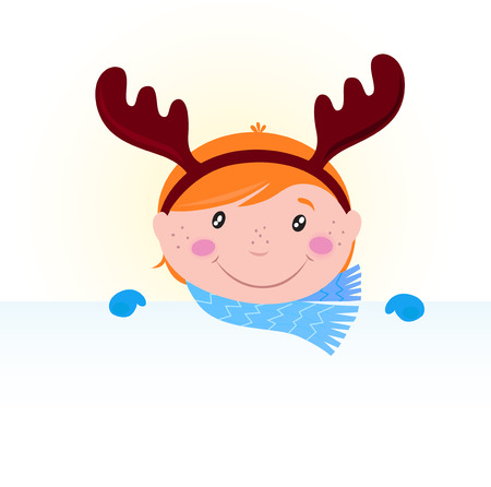 Cute Christmas kid in reindeer costume with blank banner sign Vector