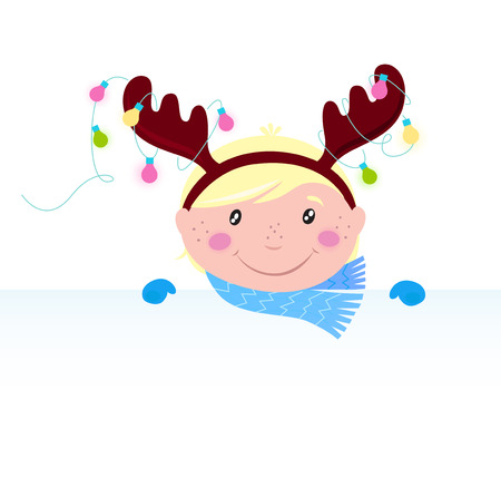 Cute funny Child in reindeer costume with blank banner / sign Stock Vector - 8276383