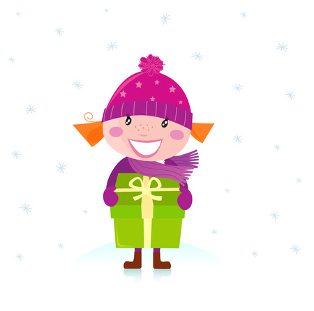 Cute Christmas girl with present isolated on white Stock Vector - 8276384