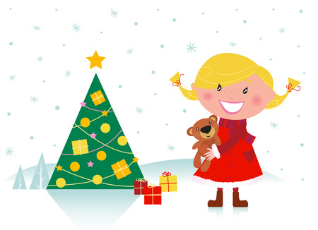 Cute girl with christmas tree and gifts Vector