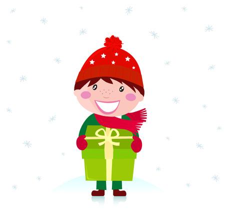 giving season: Christmas boy with present. Snow flakes falling around. Vector Illustration. Illustration
