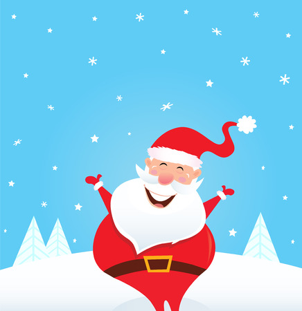 costume cartoon: Happy Santa Claus with falling snow and trees. Vector Illustration.
