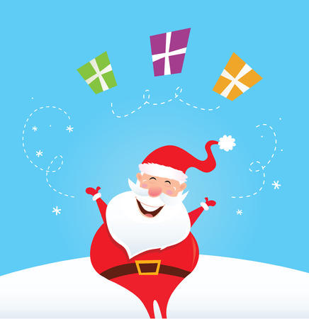 Cute christmas Santa on snow in red costume. Vector Illustration. Vector