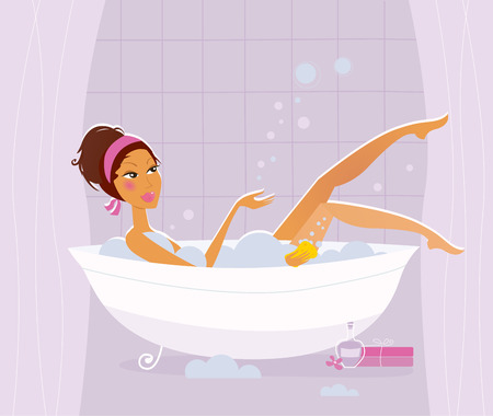 Woman bathing in bathtub in pink bathroom. Stylized vector Illustration. Stock Vector - 8276380