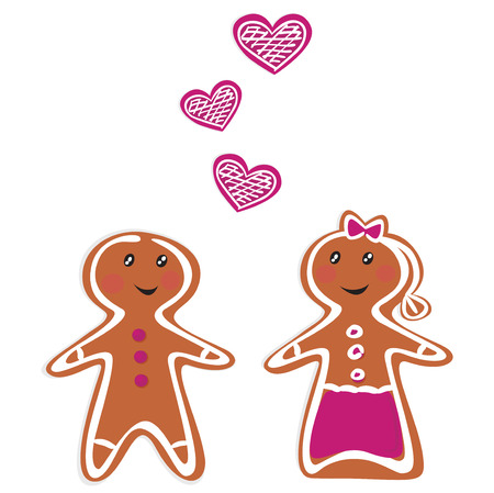 Vector Gingerbread People - Couple isolated on white Stock Vector - 8276399