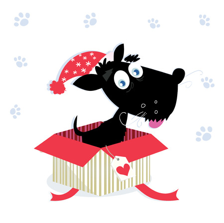 dog christmas: Black dog puppy sitting in a christmas present. Vector Illustration