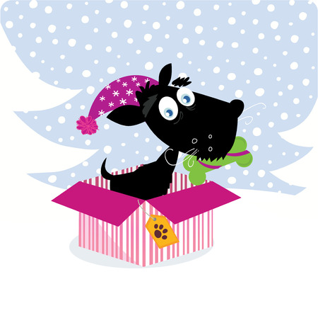 Cute dog puppy sitting in christmas present. Vector Illustration. Vector