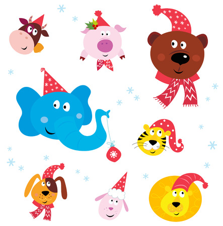 Cute animal icons with red Santa hats isolated on white. Vector Illustration. Stock Vector - 8276408