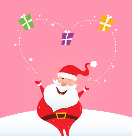 Santa juggling with christmas gifts and making big heart. Vector Illustration. Vector